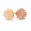Beige AB Angel Druzy Square Claw Studs Earrings-Gold Filled - Feelin Peachy