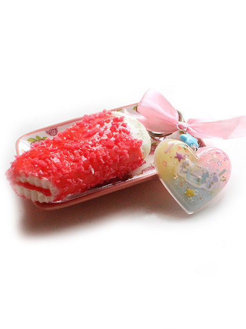 Kawaii Pastel Heart Squishy Red Ice Cream Key Charm - Feelin Peachy