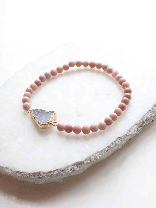 Dainty Pink Gemstone Beaded Druzy Stetchy Bracelet - Feelin Peachy