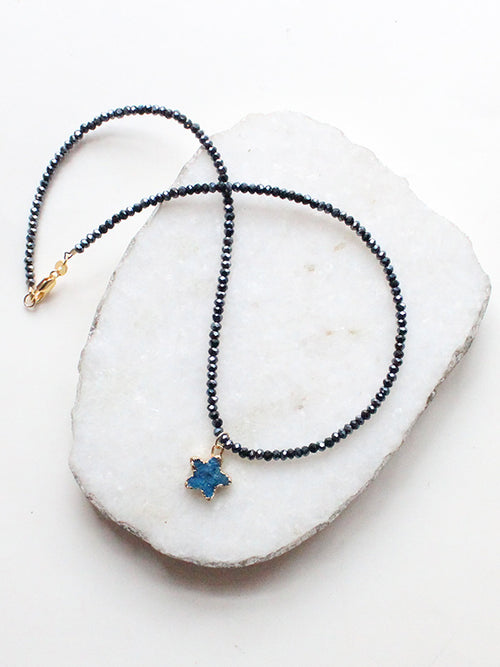 Druzy Star Black Crystal Beaded Dainty Choker Necklace-18k Gold Filled