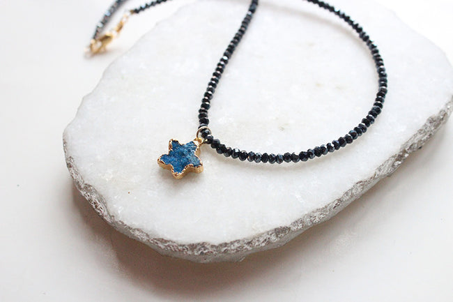 Druzy Star Black Crystal Beaded Dainty Choker Necklace-18k Gold Filled - Feelin Peachy