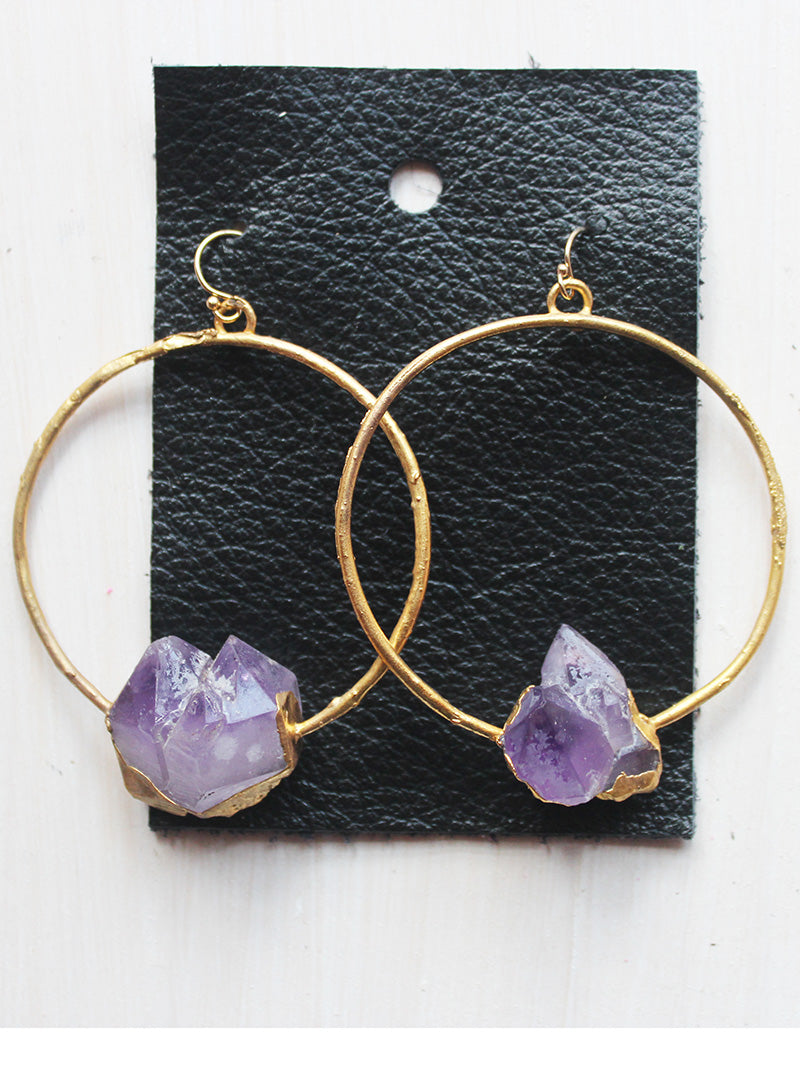 Rustic Gold Plated Amethyst Hoop Earrings- 14k Gold Filled