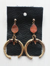 Rustic Gold Druzy Crescent Moon Drop Earrings- 14k Gold Filled