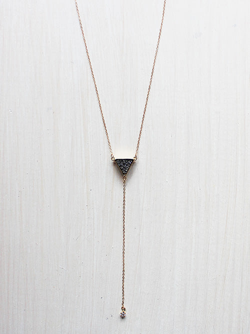 Dainty Triangle Lariat Drop Crystal Necklace- 14k Gold Filled