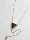 Dainty Triangle Lariat Drop Crystal Necklace- 14k Gold Filled - Feelin Peachy