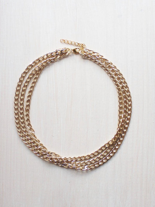 Curb Chain Triple Layer Gold Choker Necklace - Feelin Peachy