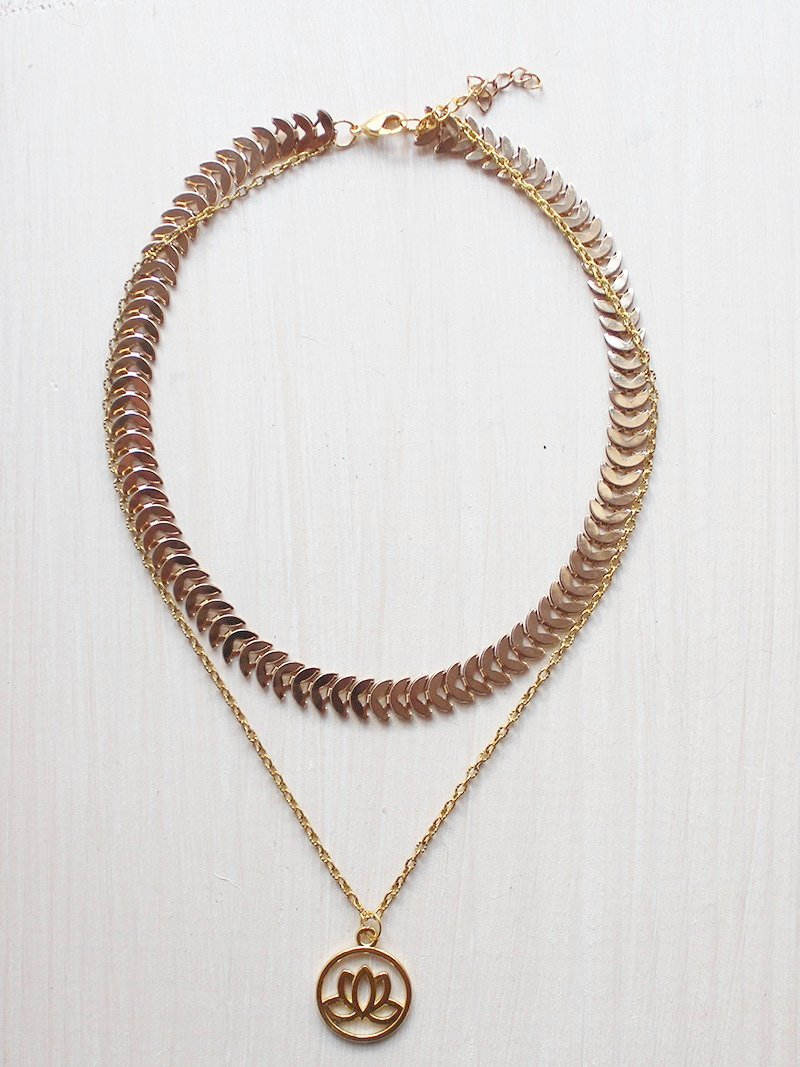 Lotus Pendant Layered Gold Choker Necklace - Feelin Peachy