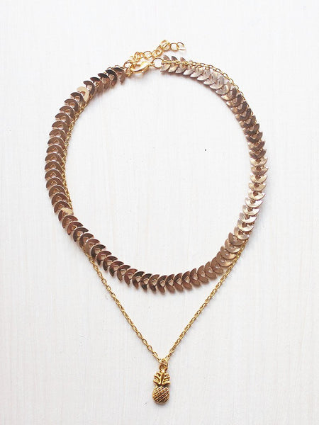 Curb Chain Triple Layer Gold Choker Necklace