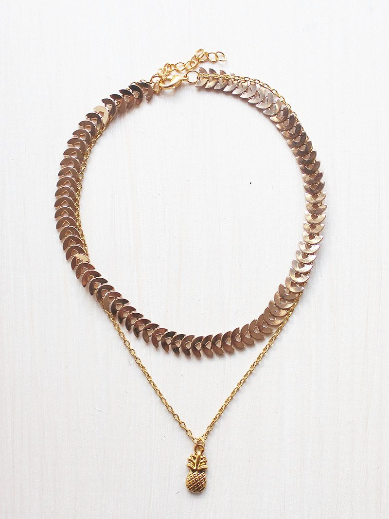 Gold Pineapple Layered Choker Necklace - Feelin Peachy