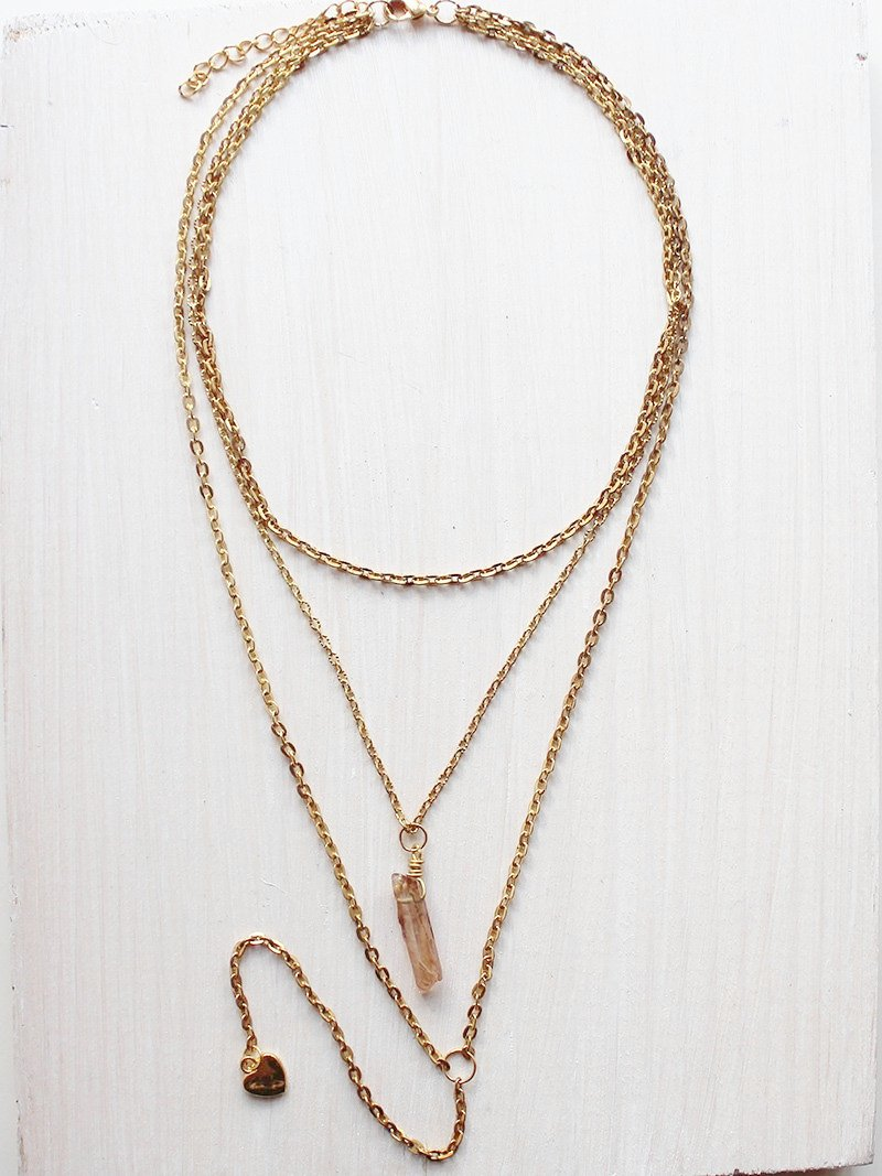 Layered Crytal Gold Lariat Necklace - Feelin Peachy