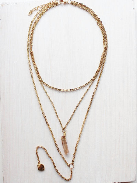 Layered Crytal Gold Lariat Necklace