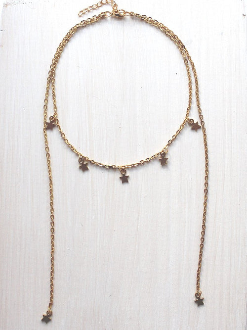 Shoot For The Stars Drop Gold Choker Necklace