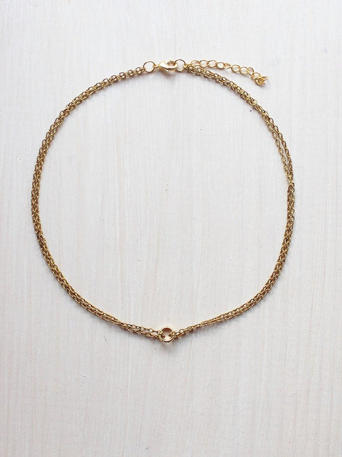Simple Gold Ring Chain Choker Necklace