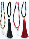 Black Red Gemstone Beaded Tassel Druzy Quartz Necklace - Feelin Peachy