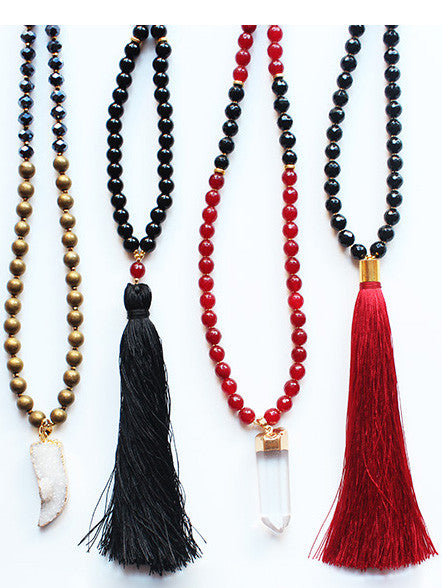 Black Red Gemstone Beaded Tassel Druzy Quartz Necklace