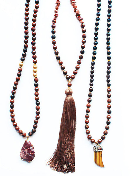 Long Gemstone Beaded Necklace Tusk Tassel Pendant-Brown