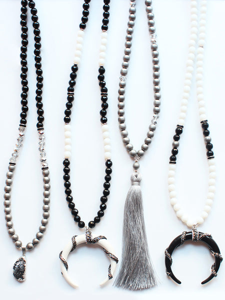 Long Gemstone Beaded Tassel Horn Tusk Pendant Necklace-Black & White