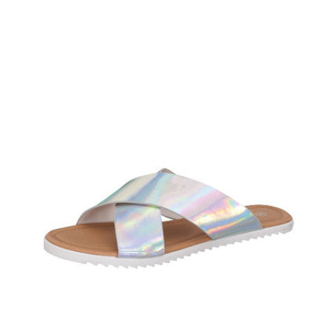 Hologram Vegan Leather flat Sandals - Feelin Peachy