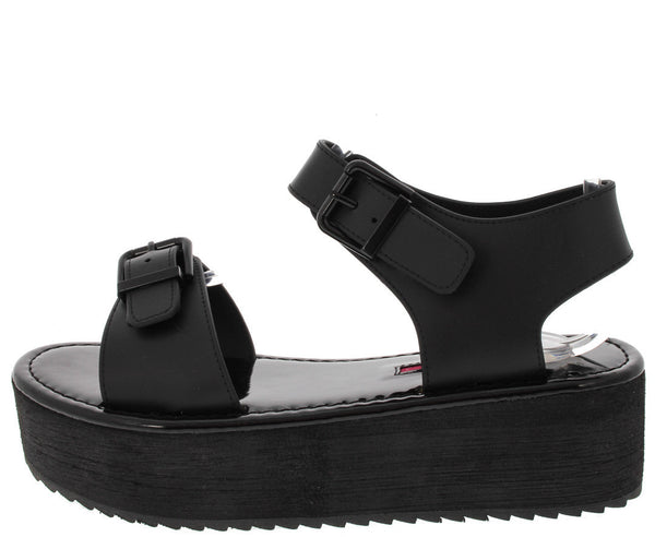 Black Platfrom Buckle Sandals