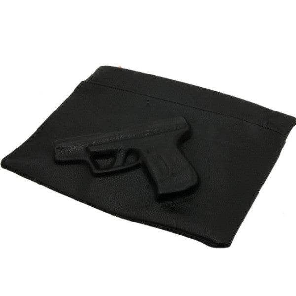 Embossed Gun Black Leather Clutch