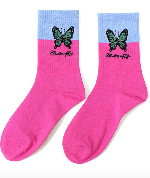Butterfly Color Block Socks