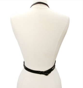 Black Leather Bust Body Harness