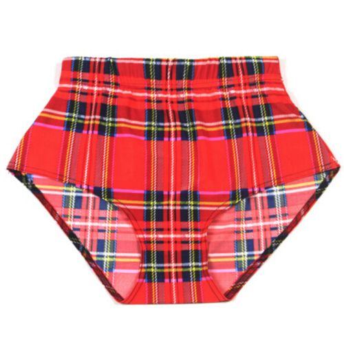 Red Tartan Plaid High Waisted Shorts