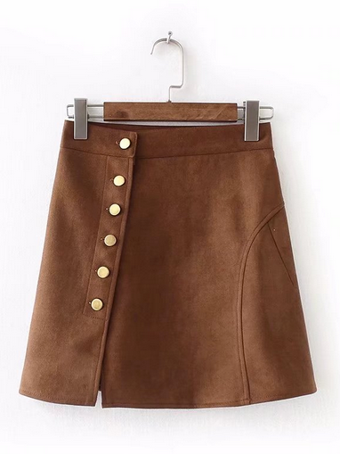 Faux Suede A-Line Skirt - Feelin Peachy