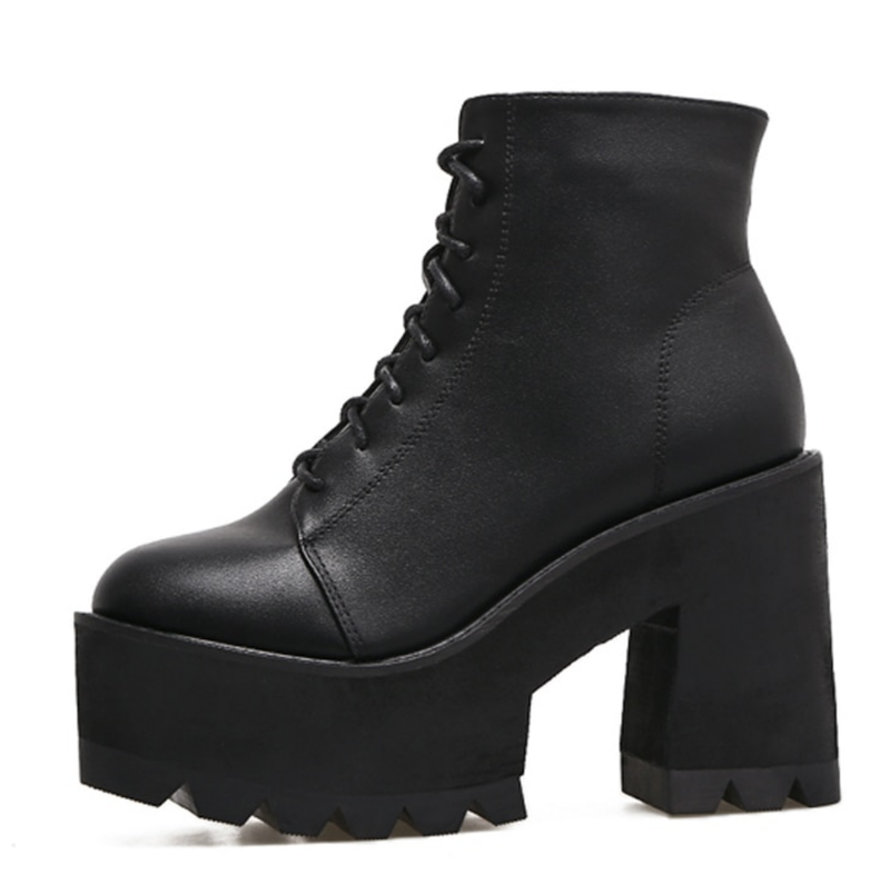 Lora Black Lace Up Platform Booties - Feelin Peachy