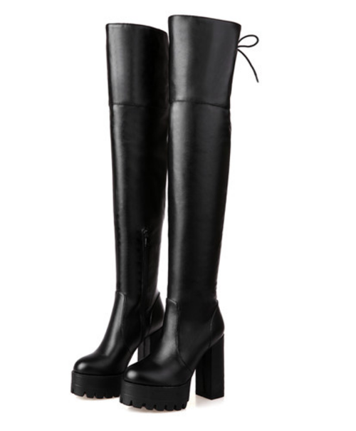 Kylie Platform Over The Knee Boots - Feelin Peachy