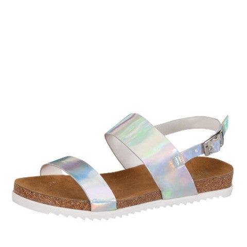 Hologram Silver Vegan Leather Sandals - Feelin Peachy