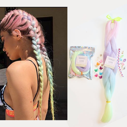 Colorful Rainbow Ombre Synthetic 24 inch Jumbo Braiding Hair Extensions Set