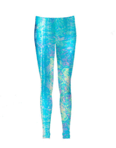 Hologram Turquoise Oil Spill Leggings - Feelin Peachy