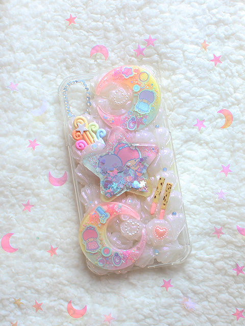 Kawaii Pastel Decoden Little Twin Star XR IPhone Case - Feelin Peachy