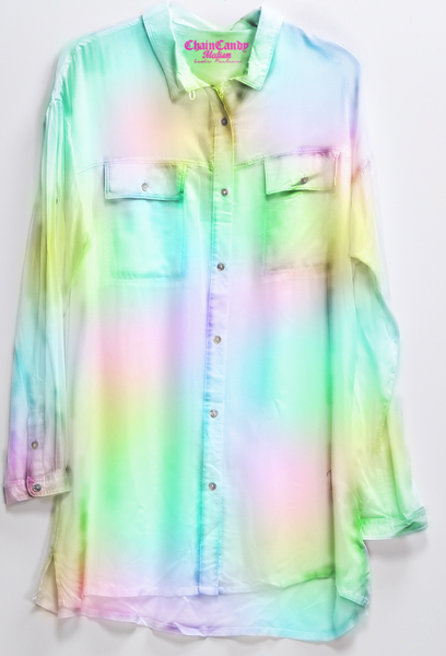 Boyfriend Rainbow Button Down