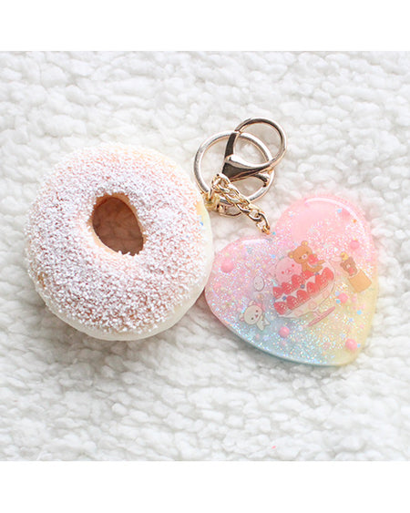 Pastel Kawaii Sailor Moon Trophy Heart Key charm With Faux Red Pom Pom