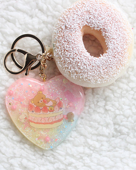 Kawaii Pastel Heart Squishy Donut Key Charm