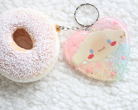 Kawaii Pastel CinnamoRoll Bread Heart Squishy Donut Key Charm - Feelin Peachy
