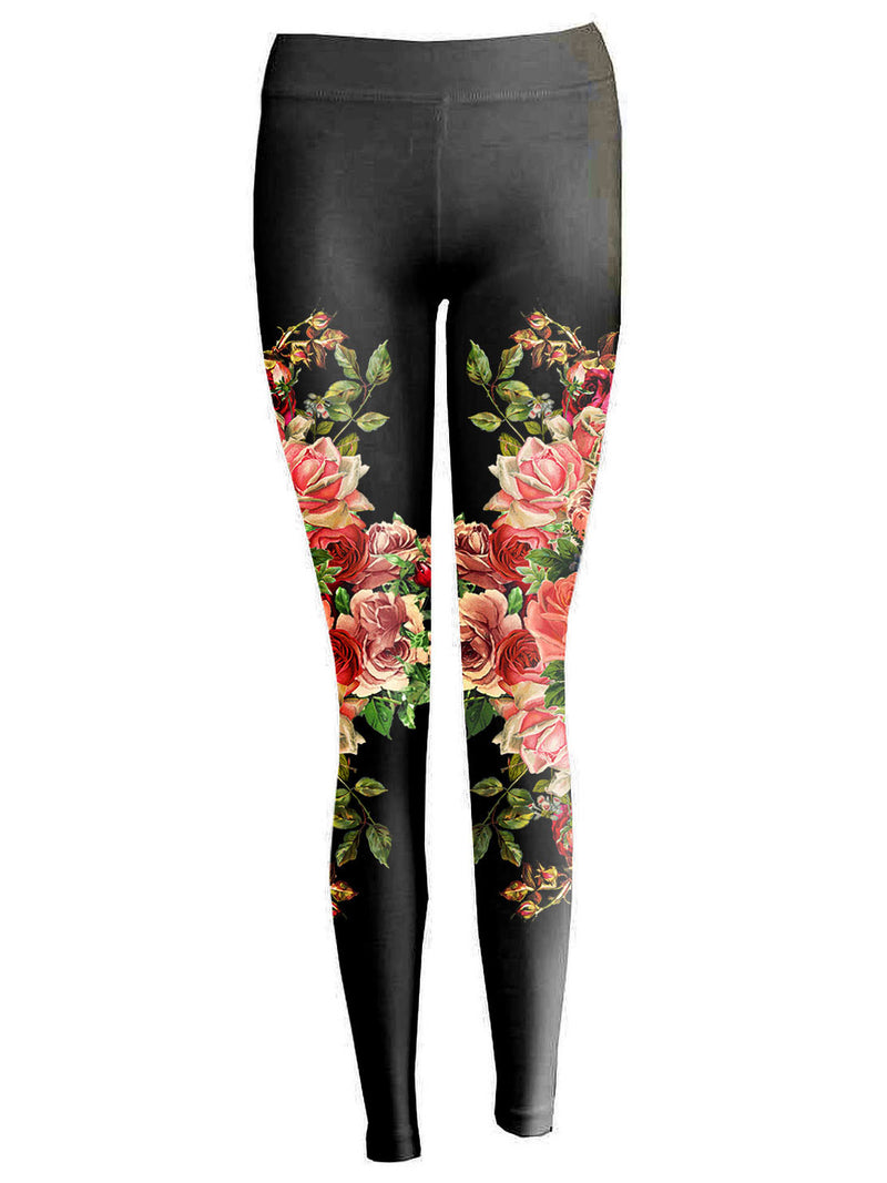 Floral Mirror Black Leggings - Feelin Peachy