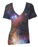Unisex Relaxed V-Neck Galaxy Printed T shirt