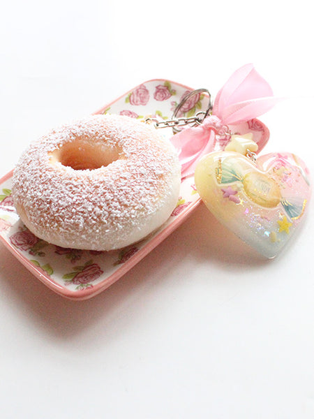 Kawaii Pastel Heart Squishy Donut Key Charm - Feelin Peachy