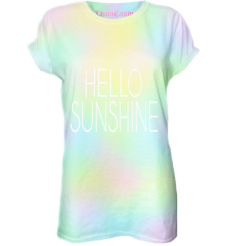 Hello Sunshine Tie Dyed Oversized T shirt