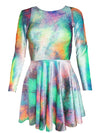 Summer Tie Dye Velvet Skater Dress - Long Sleeve