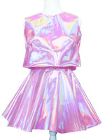 Holographic Crop Top and Circle Skirt Set - Feelin Peachy