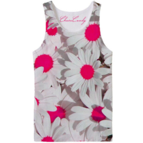Allover Print Neon Pink Daisy Tank Top