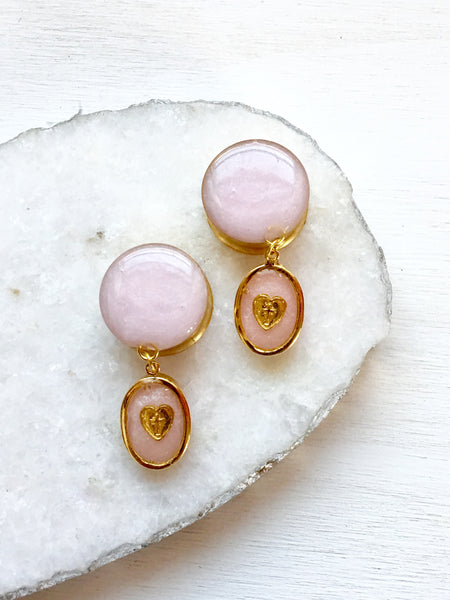Gold Rose Pink Dangle Cameo Plugs