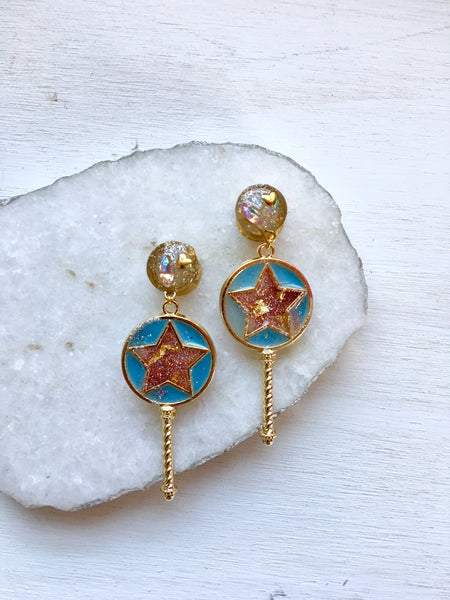 Magical Girl Gold Wand Dangle Plugs