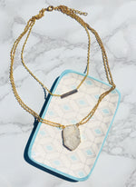 Gold Layered Collar and Druzy Pendant - Feelin Peachy
