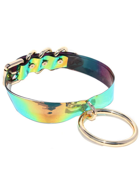 Clear Opal Black Faux Holographic Snake  Choker Set Of 2