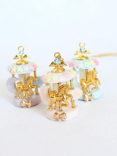 Kawaii Pastel Unicorn Carousel Necklace - Feelin Peachy